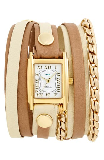 Women's La Mer Collections Leather & Chain Wrap Watch, 19Mm
