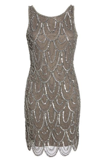 Pisarro Nights Embellished Mesh Sheath Dress, Grey