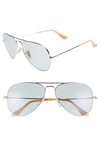 Ray-Ban Evolve 5m Polarized Aviator Sunglasses - Silver/ Blue