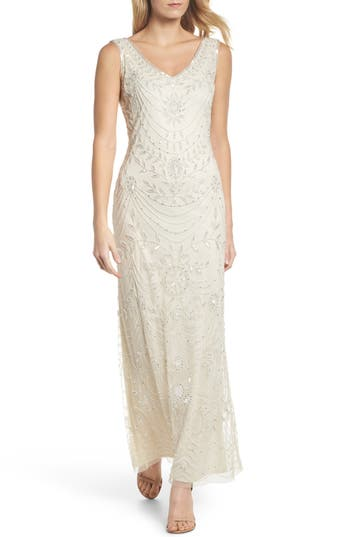 1920s Wedding Dresses- Art Deco Style Womens Pisarro Nights Beaded Necklace Motif Gown $218.00 AT vintagedancer.com