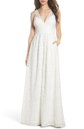 50s Wedding Dress, 1950s Style Wedding Dresses, Rockabilly Weddings Womens Adrianna Papell Stripe Lace A-Line Gown $399.00 AT vintagedancer.com