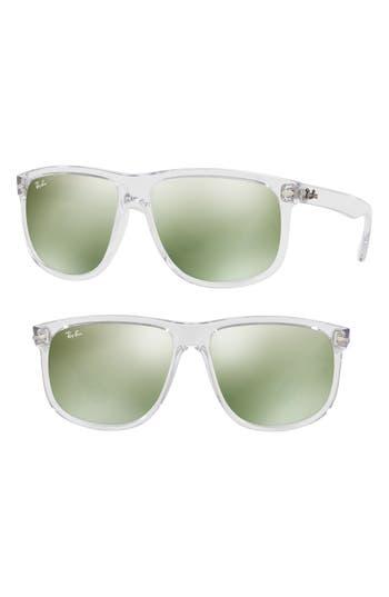 Ray-Ban 60Mm Mirrored Sunglasses - Crystal/ Green