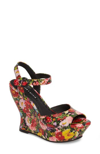 Women's Alice + Olivia Jana Wedge Platform Sandal, Size 6.5 M - Red