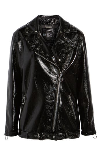 1960s Inspired Fashion: Recreate the Look Womens Stone Row Vegan Patent Leather Moto Jacket $198.00 AT vintagedancer.com