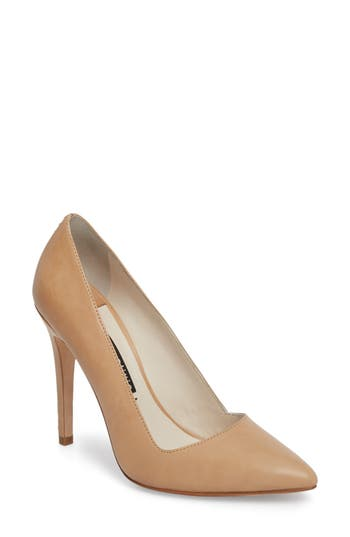 Alice + Olivia Dina 95 Whipstitch Pointy Toe Pump, Beige
