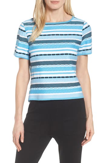 Ming Wang Stripe Jacquard Top, Blue
