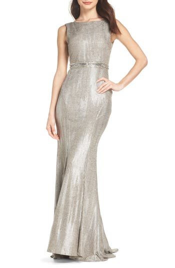 Ieena For MAC Duggal V-Back Mermaid Gown, Metallic