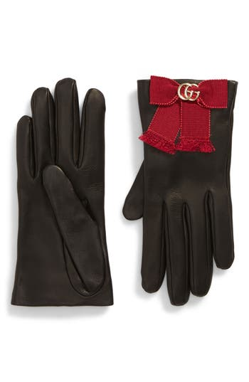Gucci Gg Grosgrain Bow Leather Gloves, Black