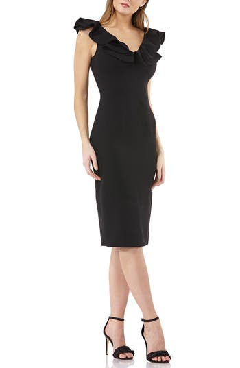 Js Collection Ruffle Cocktail Dress, Black