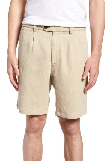 1940s Men's Fashion Clothing Styles Mens Nifty Genius Thomas Regular Fit Pleated Shorts Size 30 - Beige $127.00 AT vintagedancer.com