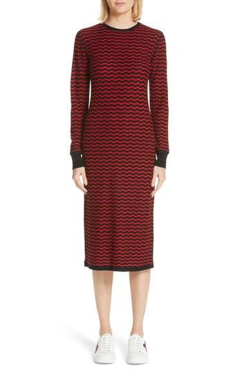 Marc Jacobs Stripe Wool Sweater-Dress, Red