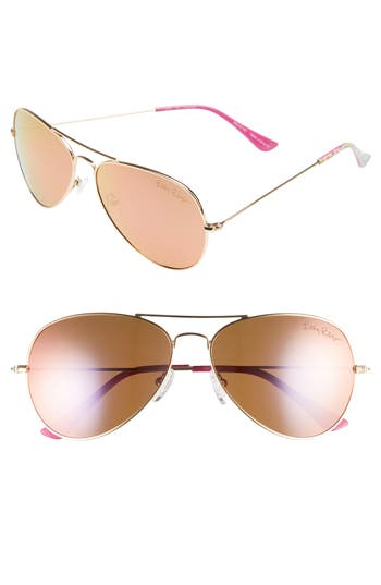 Lilly Pulitzer Lexy 5m Polarized Aviator Sunglasses - Gold/ Shady Lady
