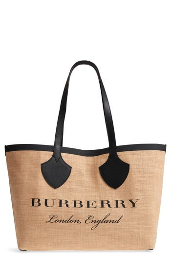 Burberry Medium Logo Print Jute Tote - Black