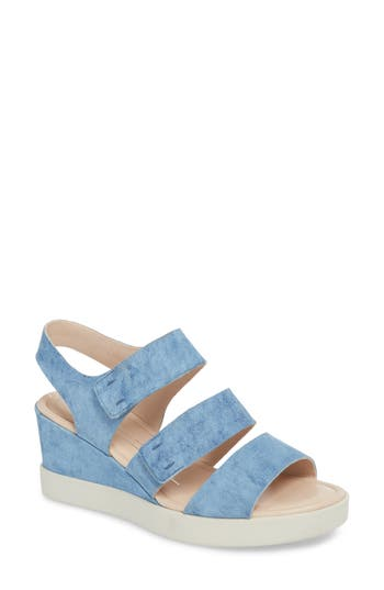 Ecco Shape Plateau Wedge Sandal, Blue
