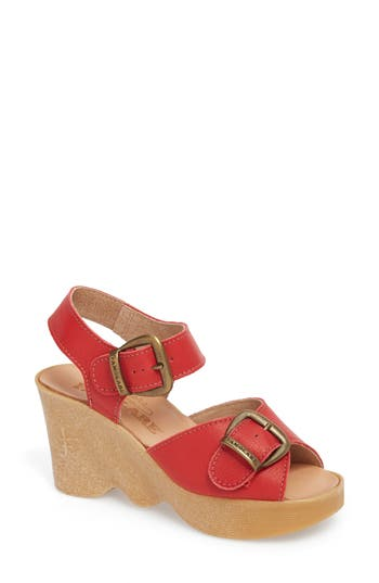 Vintage Sandal History: Retro 1920s to 1970s Sandals Womens Famolare Double Vision Wedge Sandal Size 11 M - Red $157.95 AT vintagedancer.com