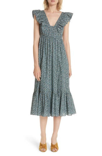 La Vie Rebecca Taylor Chinon Floral Cotton Midi Dress, Blue