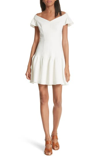 Rebecca Taylor Off The Shoulder Stretch Texture Dress, White