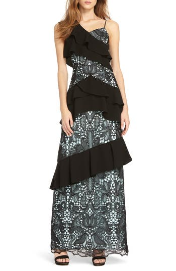 Ml Monique Lhuillier Crepe & Lace Mixed Gown, Black