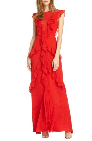 Ml Monique Lhuillier Asymmetrical Ruffle Gown, Red