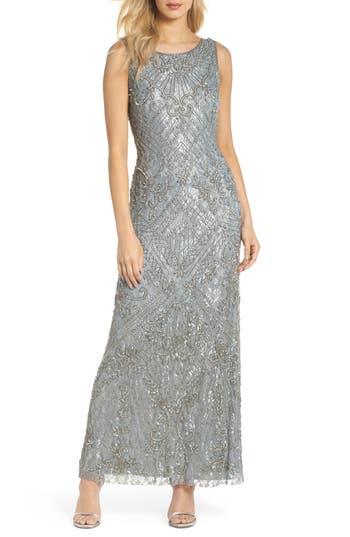 Pisarro Nights Beaded Lace Gown, Metallic