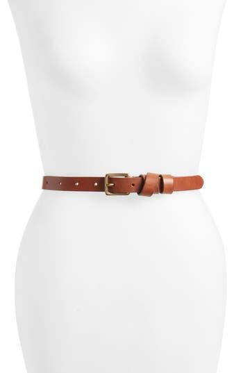 Madewell Leather Crisscross Skinny Belt, English Saddle