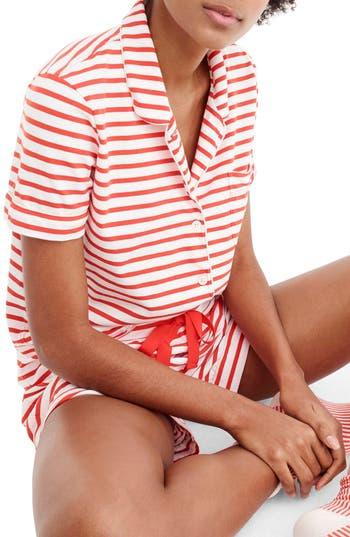 J.crew Dreamy Striped Short Pajamas, Red