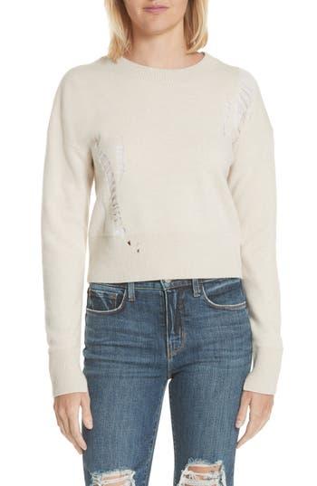 Helmut Lang Shredded Crop Lambswool Sweater, Beige