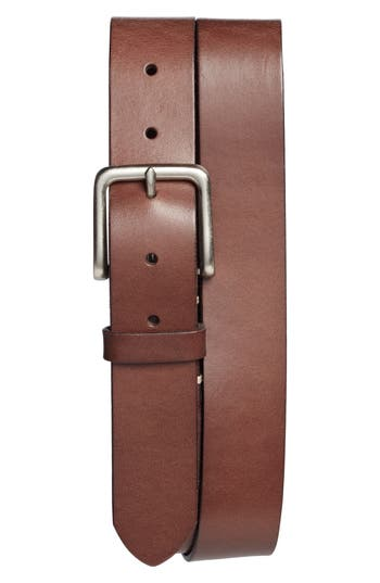 Big & Tall 1901 Moro Bar Tack Leather Belt, Brown Chestnut