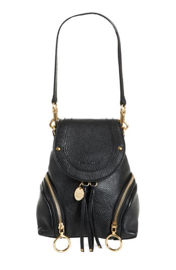 See By Chloe Small Olga Leather Backpack - Black