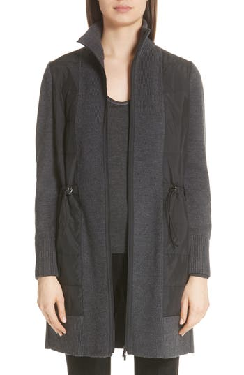 Lafayette 148 New York Quilted Panel Wool Sweater Coat, Grey