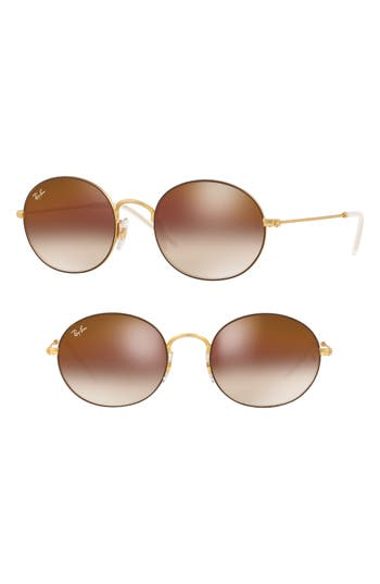 Ray-Ban Youngster 5m Oval Sunglasses - Gold/ Brown Gradient Mirror