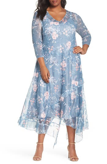 1920s Plus Size Dresses, Gatsby Dresses, Flapper Costumes Plus Size Womens Komarov Handkerchief Hem Print Dress $388.00 AT vintagedancer.com