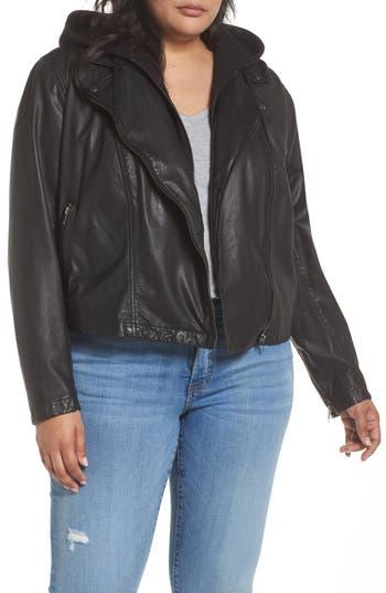 Plus Size Caslon Hooded Leather Jacket, Black
