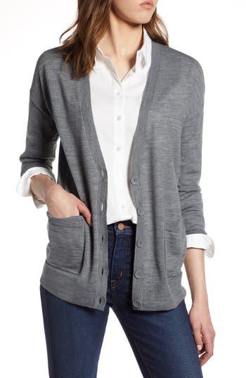 Halogen V-Neck Merino Wool Cardigan, Grey