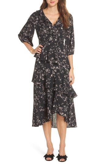 1920s Day Dresses, Tea Dresses, Mature Dresses with Sleeves Womens Chelsea28 Ruffle Front Tiered Midi Dress $89.40 AT vintagedancer.com