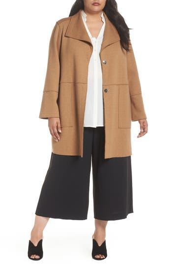 Plus Size Kenneth Cole New York Envelope Collar Wool Knit Coat, Beige