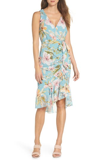 Eliza J Floral Print Faux Wrap Midi Dress, Blue/green