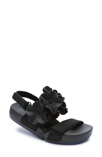 Figs By Fiigueroa Figulous Flower Sandal Black