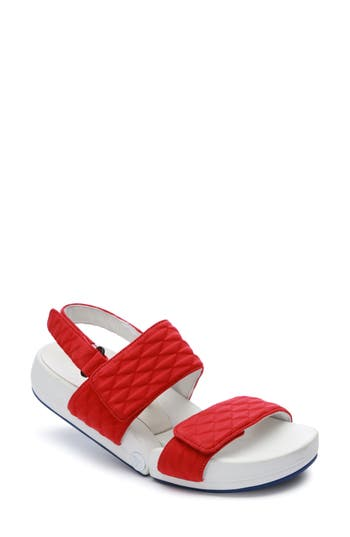 Figs By Figueroa Figulous Diamond Embossed Sandal Red