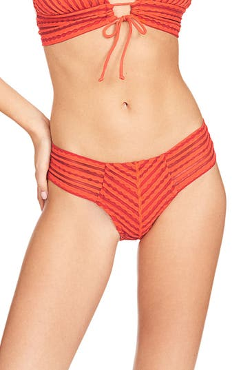 Robin Piccone Carly Hipster Bikini Bottoms, Red