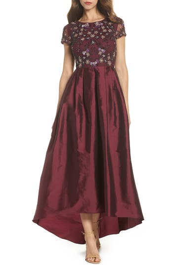 Adrianna Papell Beaded Bodice High/low Ballgown