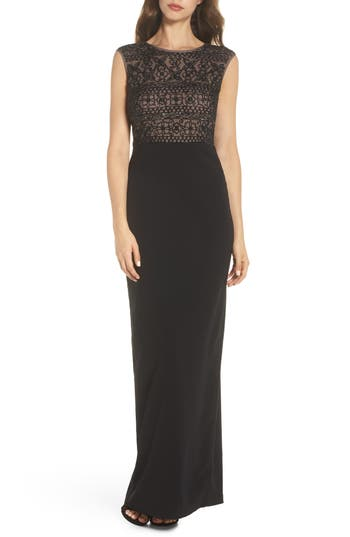 Adrianna Papell Beaded Mesh Bodice Gown, Black