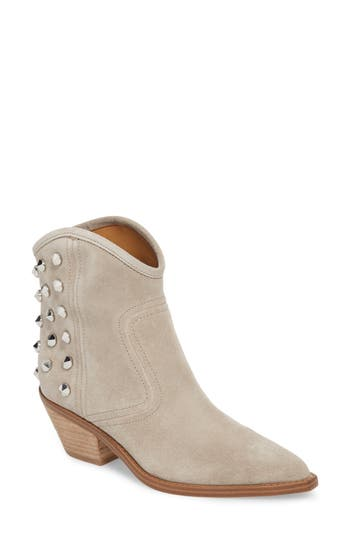 Marc Fisher Baily Studded Western Bootie, Grey