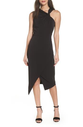 Harlyn Twist Front Asymmetrical Cocktail Dress, Black