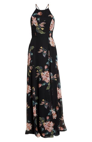 Collection Kayla Ohana Print Gown, Black Multi