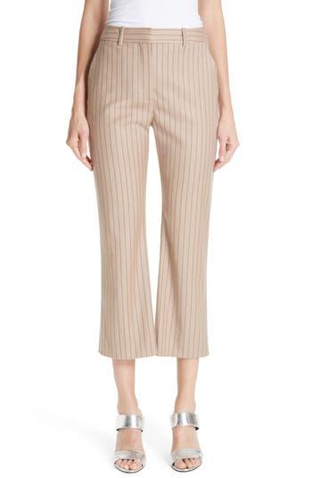 Altuzarra Adler Pinstripe Crop Flare Pants, 4 FR - Brown