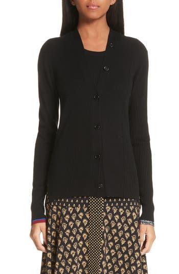 Proenza Schouler Pattern Cuff Silk & Cashmere Blend Cardigan, Black