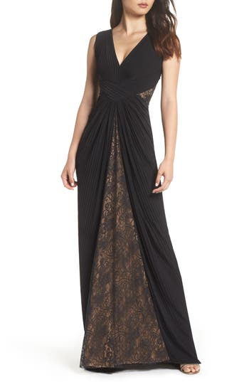 1940s Evening, Prom, Party, Formal, Ball Gowns Womens Tadashi Shoji Pintuck  Lace Gown $468.00 AT vintagedancer.com