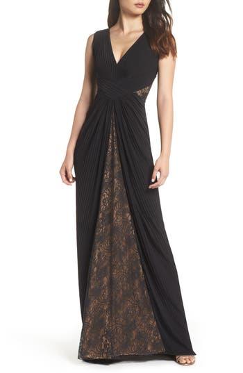 1950s Formal Dresses & Evening Gowns Womens Tadashi Shoji Pintuck  Lace Gown $351.00 AT vintagedancer.com