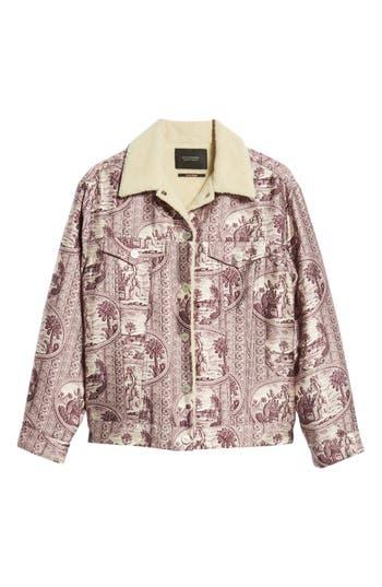 Scotch & Soda Fleece Lined Print Trucker Jacket, Purple
